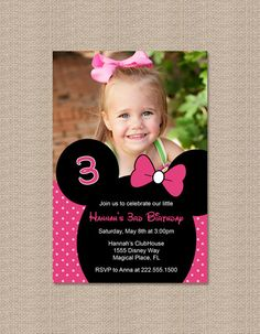 Printable Pink Minnie Mouse Birthday Party Invitations with Photo