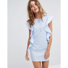 Pull&Bear Ruffle Detail Dress (£28) ❤ liked on Polyvore featuring dresses, blue, tall skater dress, frilly dresses, braid dress, zip front dress and tall dresses