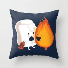 Pillow art flame hug marshmellow.  Friendly Fire by Budi Satria Kwan.  #pillowart
