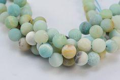 amazonite matte round bead 10mm frosty bead blue by SelectBeads