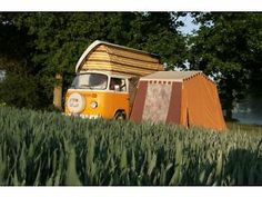 Original VW camper 1971 orange and brown awning without poles. Lewisham Picture 1