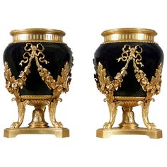 A Lovely Pair of Late 19th Century Gilt Bronze Mounted Cobalt Blue Sevres Planters.
