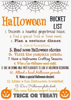 Halloween Bucket List (Free Printable).  Print off the list & check off the fun things to do before Halloween!
