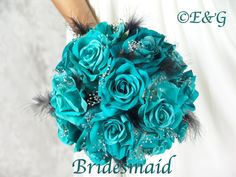 Amazon.com - GORGEOUS CHARLOTTE TURQUOISE & BLACK Complete Wedding Package Bridal Bridesmaid Groom Corsagesilk flowers - Arts And Crafts Supplies
