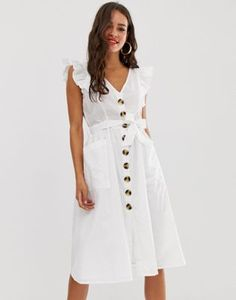 Order Boohoo exclusive broderie midi dress with button through and frill sleeves in white online today at ASOS for fast delivery, multiple payment options and hassle-free returns (Ts&Cs apply). Get the latest trends with ASOS. V Neck Midi Dress, Satin Midi Dress, Asos, Petite Long Sleeve Dress, Online Shop Kleidung, Mode Online Shop, Latest Dress, Latest Fashion Clothes, Classy Outfits
