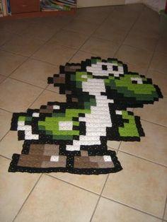 Yoshi pixel crochet rug by claire-de-lune (458 granny squares)