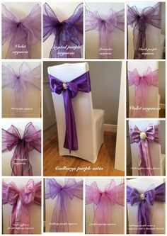 White chair cover with purple sashes. Available to hire for weddings and events in Swansea, Cardiff, Neath, Bridgend, Llanelli, Carmarthen and surrounding areas of South Wales from www.affinityeventdecorators.com