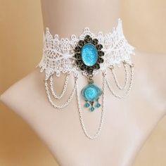 $5.71 Trendy Light Blue Pendant Lolita Lace Necklace For Women