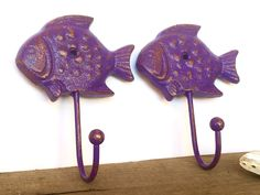 Purple Fish Wall Hooks - Bathroom Towel Hooks - Lake House Decor - Entryway Coat Hooks - Key Holder - Nautical Key Hook - Animal Wall Hooks by ShineBoxPrimitives on Etsy