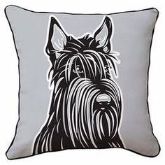 Scottish Terrier Reversible Throw Pillow in Gray & White