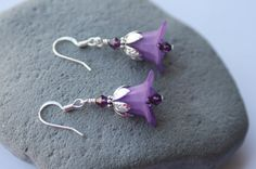 Purple Lucite Flower Dangle Earrings