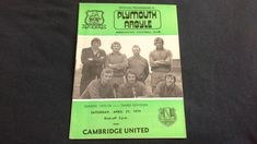 Plymouth Argyle v Cambridge United Saturday April 27th 1974 football programme by brianspastimes on Etsy