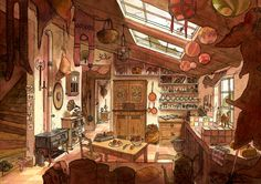 art, illustration, // La cuisine du voyageur by ~Marfigram on deviantART Environment Concept, Environment Design, Art Environnemental, Bg Design, Illustration Art, Illustrations, 3d Fantasy, Animation Background, Visual Development