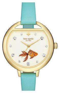 kate spade new york 'metro - fishbowl' leather strap watch, 34mm