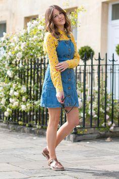 184f7380895d8 Other Stories Silk Shirt Denim Dungaree Dress Outfit, Denim Pinafore Dress  Outfits, Dungarees