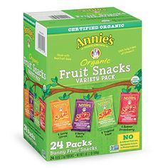Annie's #Organic Bunny Fruit Snacks, Variety Pack, 24 Pouches, 0.8 oz Each