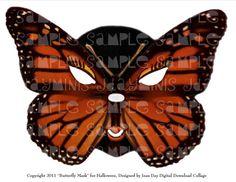 Halloween Carnival Monarch Butterfly Mask Digital by jdayminis
