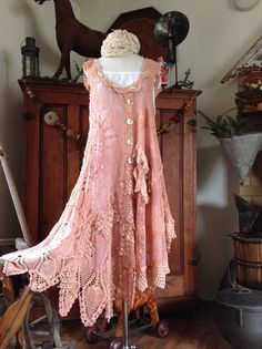 Luv Lucy Peach Love Birds Dress  by LuvLucyArtToWear on Etsy