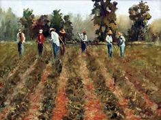 """Daily Paintworks - """"field hands"""" - Original Fine Art for Sale - © Bill Bailey"""