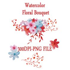 $5.5USD Watercolor Flower Clipart, Wedding floral Clip art