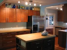 ikea adel kitchen cabinets medium brown with butcher block counters - Medium Brown Kitchen Cabinets