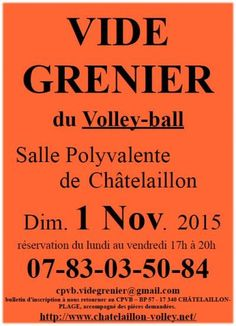 affiche Vide greniers du Chatelaillon-Plage-Volley-Ball