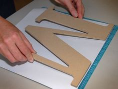 "How to cut scrapbook paper perfectly for those wooden letters.TLC Home ""Whimsical Wall Decor"""