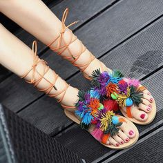 GET $50 NOW   Join RoseGal: Get YOUR $50 NOW!http://www.rosegal.com/sandals/flat-heel-pompom-sandals-1058036.html?seid=4514413rg1058036