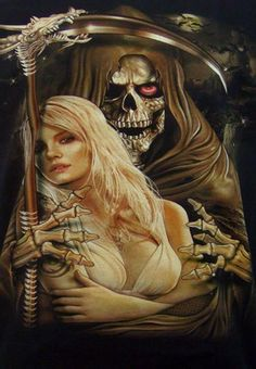 death grim reaper Father Time scythe maid girl woman dance danse macabre skull skeleton