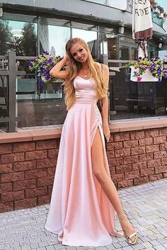 Charming a line sweetheart spaghetti straps slit pink long prom dresses, beautiful evening dresses - Abschlussball Kleider - Long Prom Dresses Uk, A Line Prom Dresses, Beautiful Prom Dresses, Pretty Dresses, Elegant Dresses, Sexy Dresses, Summer Dresses, Wedding Dresses, Straps Prom Dresses
