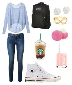 """""""Fall day"""" by sachim1 ❤ liked on Polyvore featuring Frame Denim, Victoria's Secret, Converse, JanSport, Blue Nile, Eos and Essie"""
