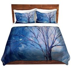 Duvet Cover and Sham SET from DiaNoche Designs by artist Aja Ann Unique Abstract, Designer, Decorative - Silent Night