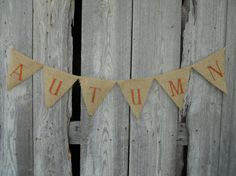 AUTUMN Burlap Banner for Fall Autumn Party Decor Photo Prop on Etsy, $16.00