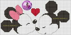 Minnie and Mickey Mouse x-stitch Disney Stitch, Counted Cross Stitch Patterns, Cross Stitch Designs, Animated Disney Characters, Mickey Y Minnie, Native American Beadwork, Perler Patterns, Mickey And Friends, Knitting Charts