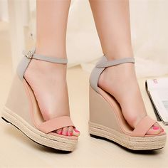 Size 34-38 Pink Summer Women Platform Wedges Sandals Female Shoes 2015 Mixed Colors Shoes High Heel Women Ankle Strap 4010