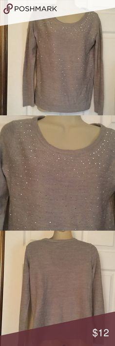Apt. 9 Grey Sweater PS Made in China.  Light grey sweater with silver sequins on front.  Petite Small.  100% Acrylic.  Very soft material.  Very good condition. Apt. 9 Sweaters Crew & Scoop Necks