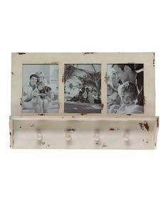 Another great find on #zulily! Distressed Wood Photo Frame Wall Hook/Shelf #zulilyfinds