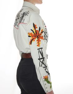 Handmade Western Shirt with Chain Stitch Embroidery. Available for Men and Women in all sizes. Mother-of-pearl snap buttons, shotgun cuffs, piped pockets, relaxed fit. Chain Stitch Embroidery, Embroidery Stitches, Western Shirts, Western Wear, Halcyon Days, Rodeo, San Antonio, Custom Made, Westerns