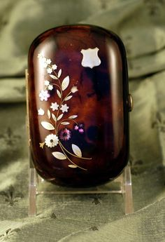 Antique French Tortoise Shell Coin Purse c. 1860 Inlaid with Pewter from charonsspoilsantiques on Ruby Lane $395.00