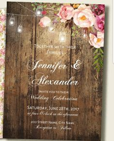 Boho rustic wedding invitation