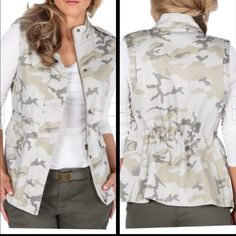 NWT MAX JEANS WOMEN'S CITY GIRL CAMO VEST Love this camo vest that cinched at the waist for a more fitted silhouette.. Max Studio Jackets & Coats Vests