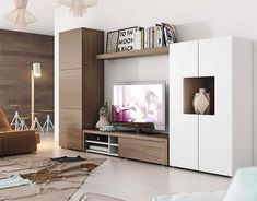 Contemporary wall storage system with cabinet, tv unit and tall cabinet Living Room Wall Units, Living Room Decor, Modern Tv Wall Units, Wall Storage Systems, Living Room Entertainment Center, Muebles Living, Small House Decorating, Tv Cabinet Design, Home Interior Design