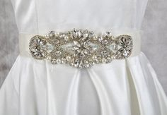 Bridal Sash Vintage Crystal Rhinestone Pearls Bridal by KeFormal