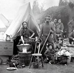 Wives and children sometimes followed their husbands to war, particularly in the early period of the conflict. The soldiers were in the camp, and the women and children were right there with them.