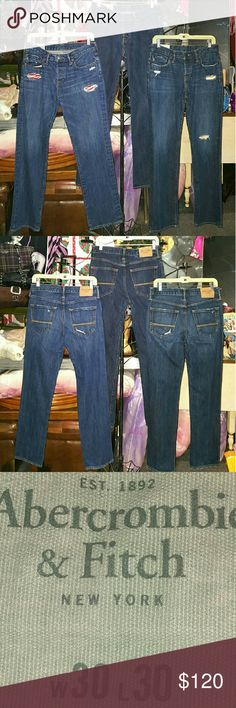 BUNDLE LOT 3 PAIRS ABERCROMBIE FITCH PREMIUM JEANS these are all ABERCROMBIE & FITCH PREMIUM mens JEANS & ALL 3 PAIRS are SIZE 30X30...all are in EXCELLENT  pre-owned condition...these orig retail at $88.00 each at A & F so this is a TOTAL DEAL!!! Abercrombie & Fitch Jeans