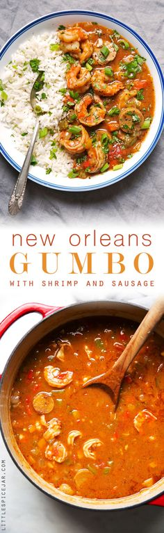 New Orleans Gumbo with Shrimp and Sausage - my take on Gumbo! This recipe makes even the roux from scratch and is absolutely perfect to let simmer for Sunday supper! New Orleans Gumbo with Shrimp and Sausage Recipe Fish Recipes, Seafood Recipes, New Recipes, Soup Recipes, Dinner Recipes, Cooking Recipes, Healthy Recipes, Delicious Recipes, Gumbo Recipes