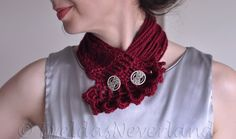 Fiber Art Jewelry Wearable Art Designer Crochet Neckwear Neckpiece Collar Multistrand Necklace in burgundy oxblood Red Wine Gift under 50