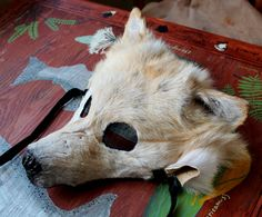 Taxidermy shaped wolf fur mask by Lupa. More info at http://thegreenwolf.tumblr.com/post/100512969372/hey-folks-i-have-exactly-one-wolf-mask-available#notes