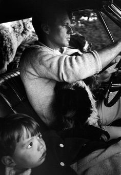 "Robert Kennedy drives with his son Max and his dog Freckles. Photo by Bill Eppridge, from the book ""Robert Kennedy: A Time it Was"""