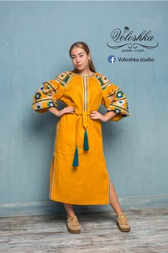Vyshyvanka // Mustard-Yellow Long Embroidered Dress with Geometrical Ornament // Traditional Ukraine Embroidered Dress // Boho style Yellow Dress // Vyshyvanka // by Vita Kin .  You'll look very chic wearing this dress which is both traditional and modern. We'll create it specially for you with accuracy and love. Don't miss a chance to be different!  Довга сукня гірчичного кольору вишиванка із смарагдово-білим візерунком. Виготовлена із льону.